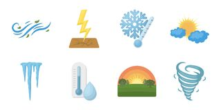 Different weather icons in set collection for design.Signs and characteristics of the weather vector symbol stock web Stock Photo