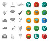Different weather mono,flat icons in set collection for design.Signs and characteristics of the weather vector symbol. Stock  illustration royalty free illustration