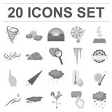 Different weather monochrome icons in set collection for design.Signs and characteristics of the weather vector symbol. Stock  illustration Royalty Free Stock Photo
