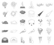 Different weather monochrome,outline icons in set collection for design.Signs and characteristics of the weather vector. Symbol stock illustration vector illustration