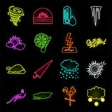 Different weather neon icons in set collection for design.Signs and characteristics of the weather vector symbol stock. Illustration stock illustration
