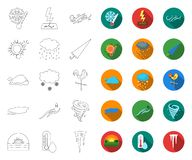 Different weather outline,flat icons in set collection for design.Signs and characteristics of the weather vector symbol. Stock  illustration vector illustration