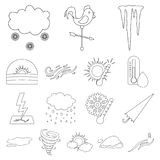 Different weather outline icons in set collection Stock Image