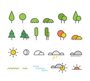 Different weather silhouette icons collection Stock Photos