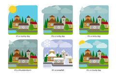 Different weather in the town illustrations Royalty Free Stock Image
