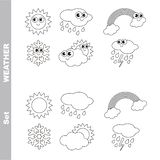 Different weathers cartoon. Page to be colored. Royalty Free Stock Photo