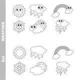 Different weathers cartoon. Page to be colored. Stock Photos