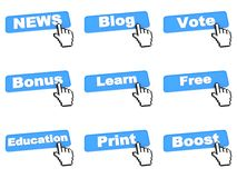 Different Web Buttons with Hand Cursor. Stock Photography