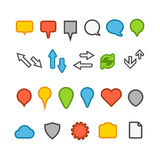 Different web color icons collection Stock Image