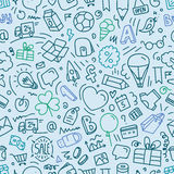 Different web interface doodle silhouettes seamless pattern Royalty Free Stock Image