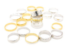 Different wedding rings Stock Photos