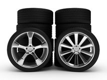 Different wheels with tires Royalty Free Stock Image