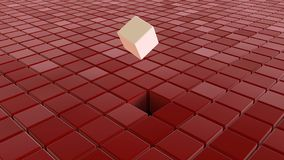 Different white cubes among red cubes royalty free stock photography