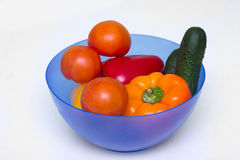 Different whole vegetables of different colors in a bowl for a salad Royalty Free Stock Images
