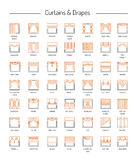 Different window drapes, curtains, blinds. Lambrequins and shade. Different window drapes, valances, curtains, blinds. Lambrequins and shades. Home decor Stock Photo