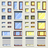 Different windows set. Flat exterior icons. Stock Image
