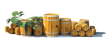 Different wine barrels on white background. Different wooden wine barrels on white background. 3d illustration Royalty Free Stock Photo