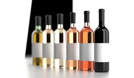Different Wine Bottles With Empty White Labels Royalty Free Stock Images