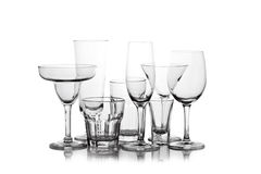 Different Wine glasses silhouetted Royalty Free Stock Image