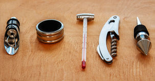 Different wine tools on the table Stock Photos