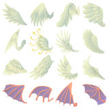 Different wings icons set, cartoon style Stock Images