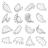Different wings icons set, outline style Royalty Free Stock Photography