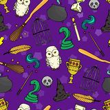 Different witch equipment. Seamless pattern Stock Photo