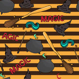 Different witch equipment. Seamless pattern Stock Photography