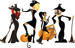 Different witches in dresses and hats with brooms Stock Photography
