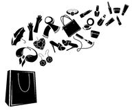 Different woman's things in bag Royalty Free Stock Photo