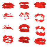 Different women`s lips vector icon set isolated from background. Royalty Free Stock Photo