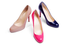 Different women shoes. Isolated on the white background with clipping path Stock Photos