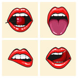 Different women's lips vector icon set isolated from background. Red lips close up girls. Shape sending a kiss, kissing Stock Photos