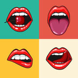 Different women's lips vector icon set isolated from background. Red lips close up girls. Shape sending a kiss, kissing Stock Photo