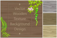 Dark texture of wooden boards and elements of plants vector illustration