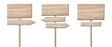 Different wooden direction arrow signposts or roadsigns made of light wood. Different empty direction arrow signpost or roadsign made of light wood with single stock photo