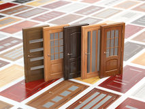 Different wooden doors on catalog with samples. Interior design royalty free illustration