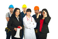 Different workers people. Different six workers people isolated on white background royalty free stock photography