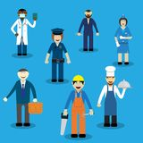 Different working professions royalty free illustration