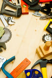 The different working tools (stapler, mallet, saw Stock Photo