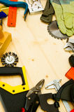 The different working tools (stapler, mallet, saw Stock Photography