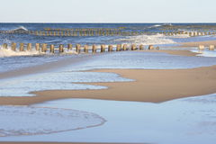 Different world. Polish beach, silence after storm, some sea water left Stock Images