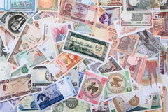 different world banknotes background Stock Photo