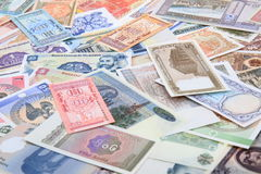 different world banknotes background Stock Photos