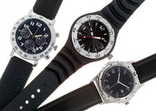 Different Wrist watches with several dials Stock Photo
