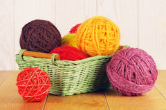 Different Yarn Balls In Wooden Basket Stock Image