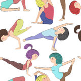 Different yoga pose, pattern Royalty Free Stock Images