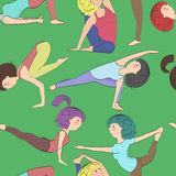 Different yoga pose, pattern Royalty Free Stock Image