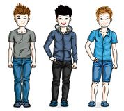 Different young teen boys cute children standing in stylish casu. Al clothes. Vector set of beautiful kids illustrations. Childhood and family lifestyle clip art Royalty Free Stock Photo