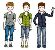 Different young teen boys cute children standing in stylish casu. Al clothes. Vector set of beautiful kids illustrations Royalty Free Stock Images